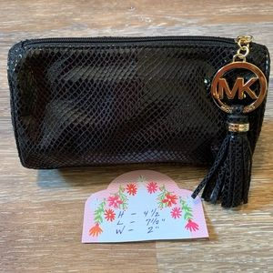 Michael Kors black leather and suede clutch